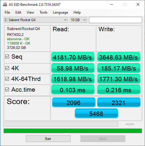 Sabrent Rocket Q4 4TB ASSSD 10GB