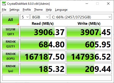 Sabrent Rocket Q4 4TB CrystalDiskMark 8GB