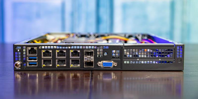 Supermicro E300 9D 4CN8TP Ports Cover Open