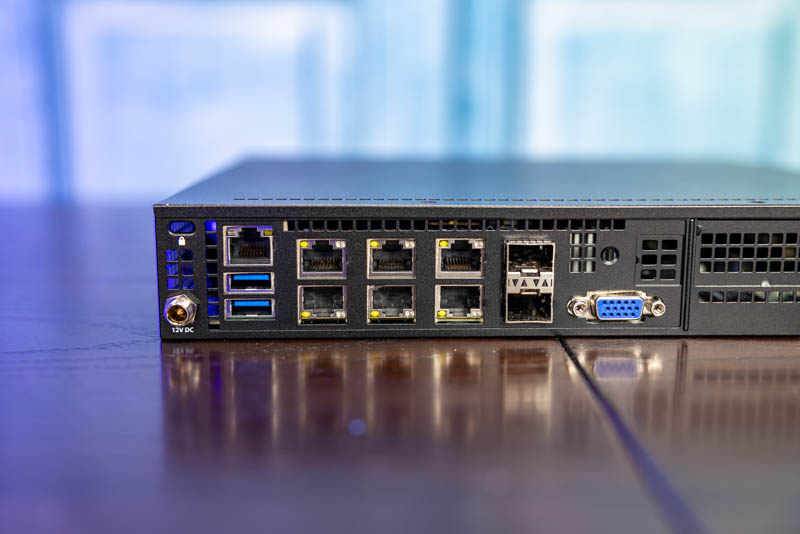 Supermicro E300 9D 4CN8TP Rear Ports