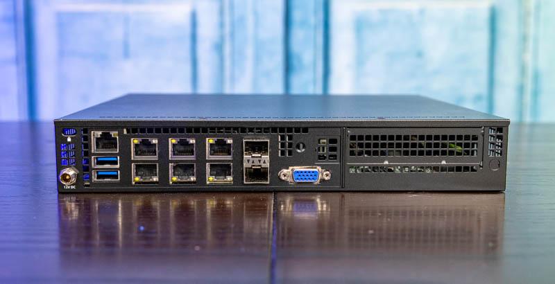 Supermicro E300 9D 4CN8TP Rear View