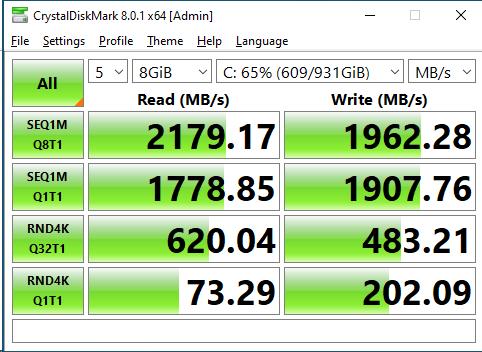 Crucial P1 1TB CrystalDiskMark 8GB
