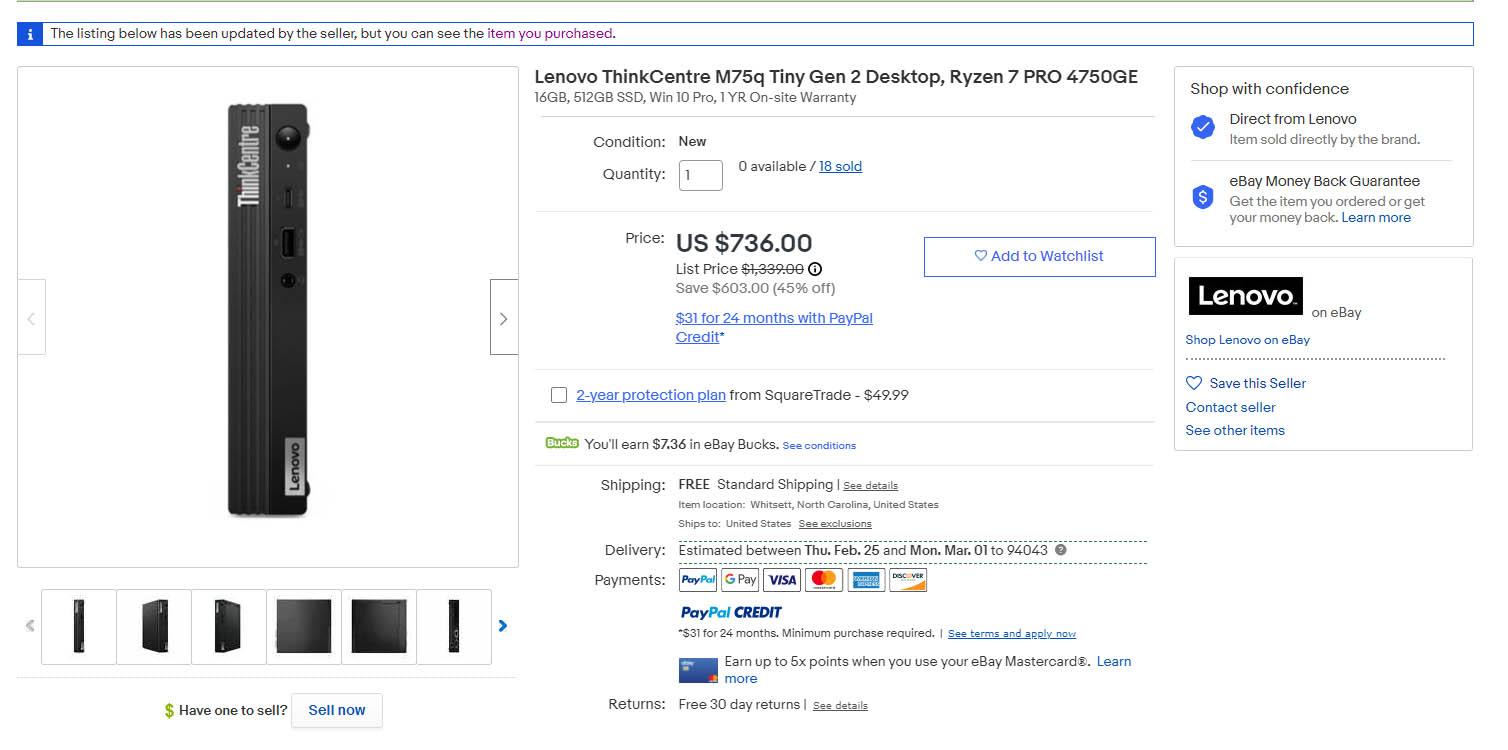 Lenovo M75q 2 Tiny Pricing