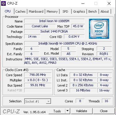 Lenovo ThinkPad P17 CPUz