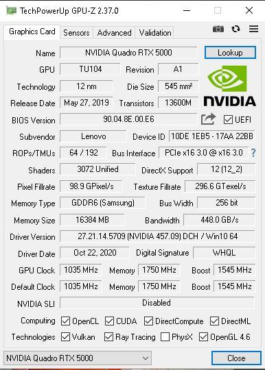 Lenovo ThinkPad P17 GPUz