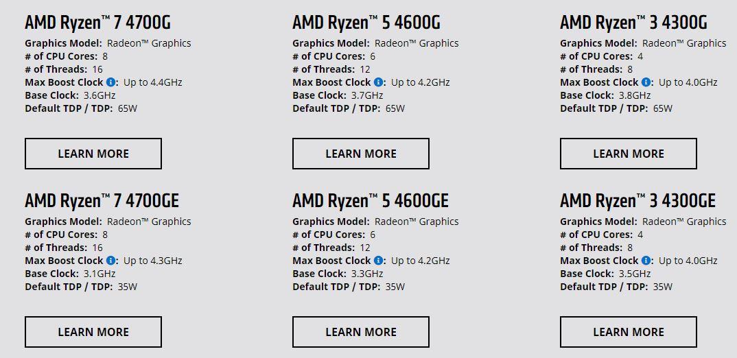 AMD Ryzen 4000G And Ryzen 4000GE Series Processors Q2 2021