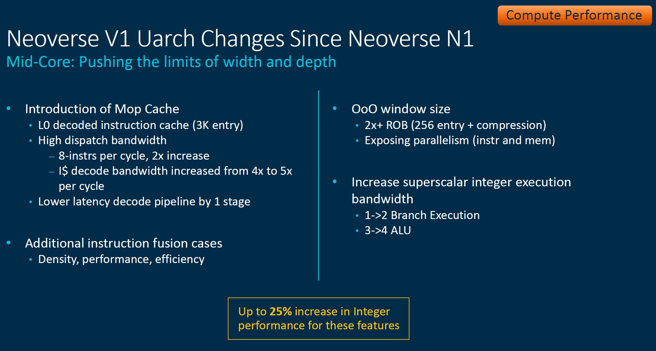 Arm Neoverse Tech Day 2021 V1 Mid Core Changes