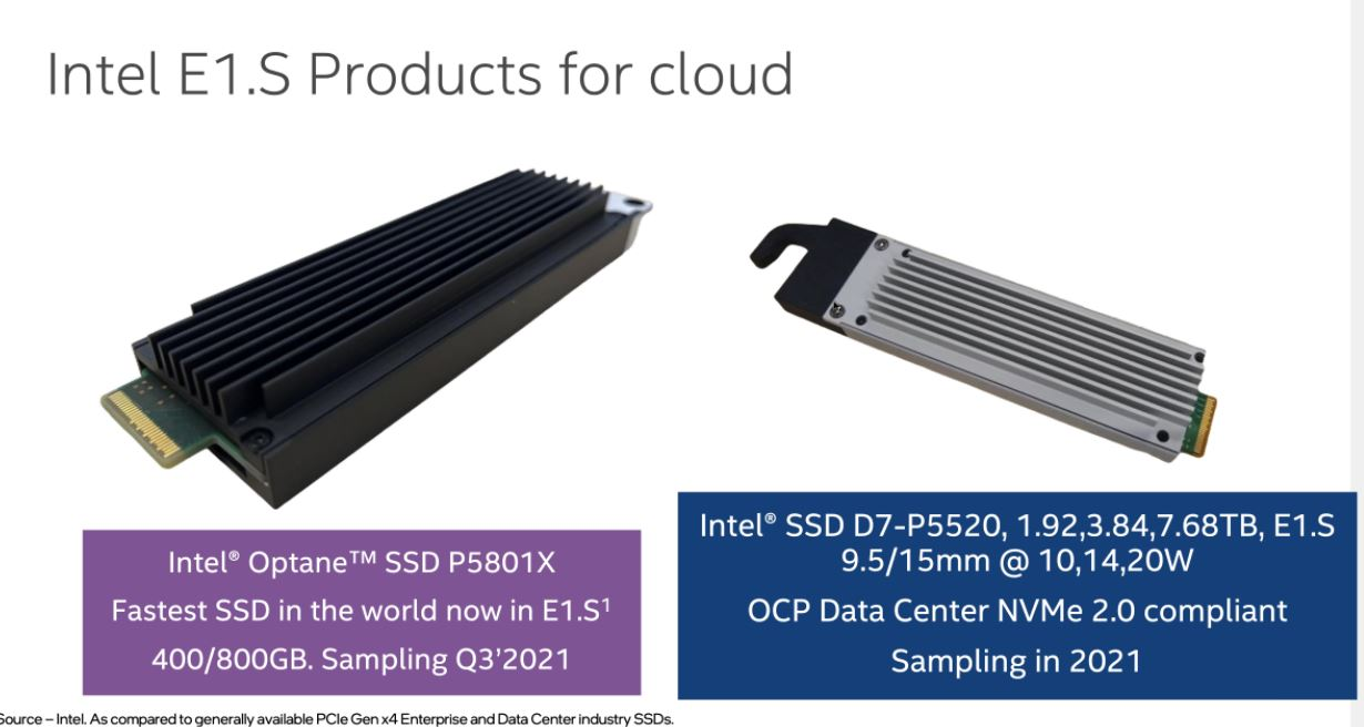 Intel E1.S For The Cloud P5801X And D7 P5520