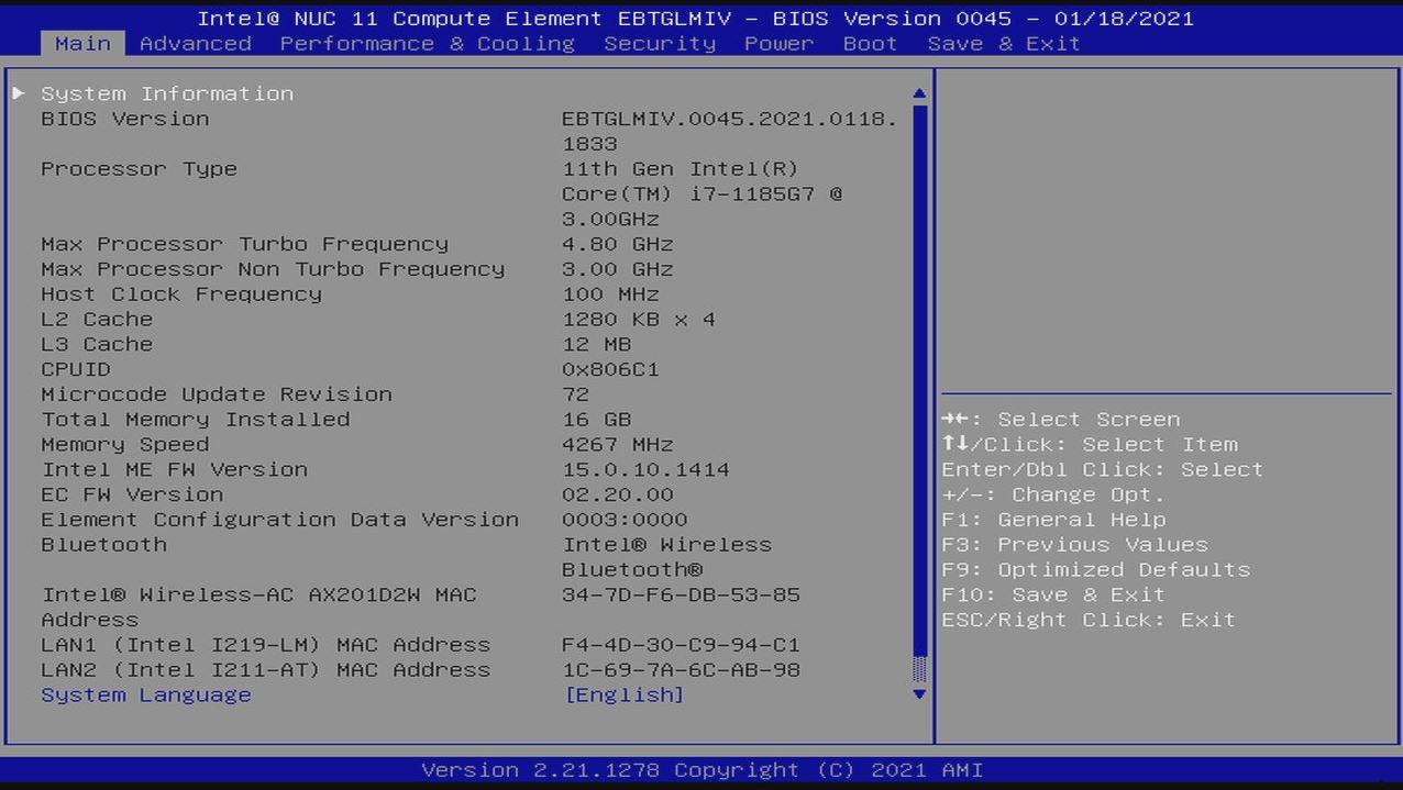 Intel NUC 11 Compute Element BIOS