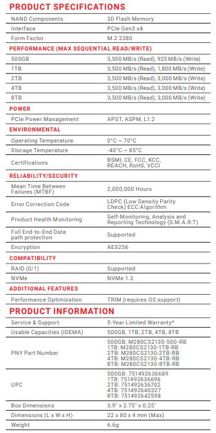 PNY CS2130 1TB Specs