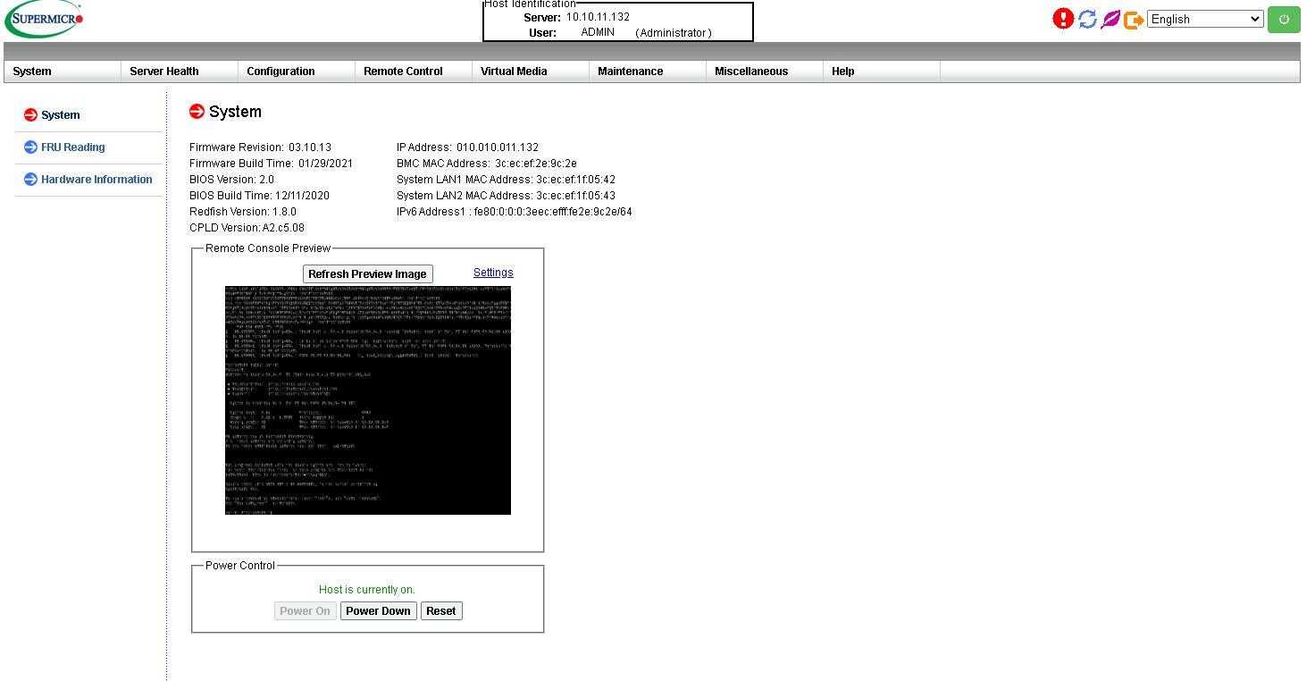 Supermicro IPMI Dashboard 1024US TRT