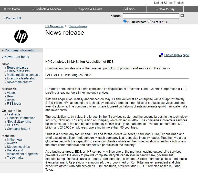 HP EDS Merger PR