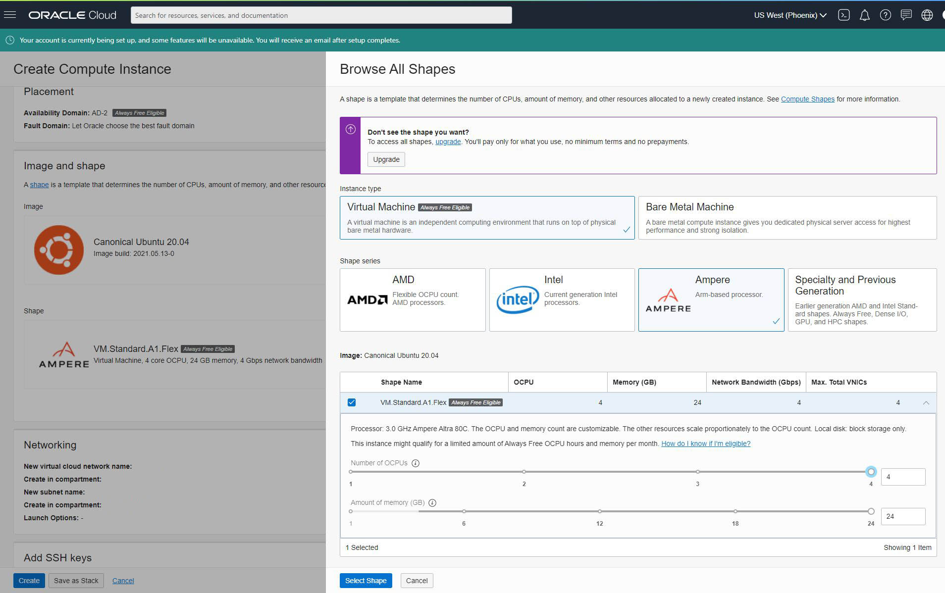 Oracle Cloud Always Free Tier Ampere A1 Instance 4C 24GB RAM Setup