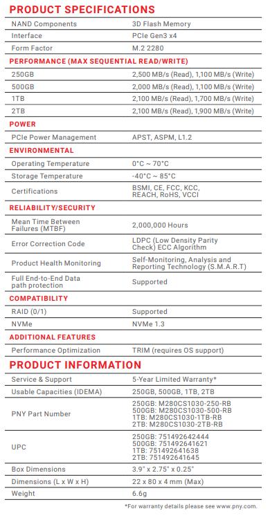 PNY CS1030 1TB Specs V2