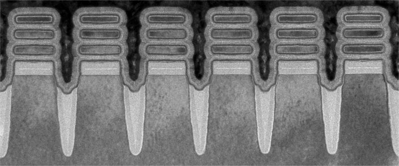 Row Of IBM 2nm Nanosheet Devices