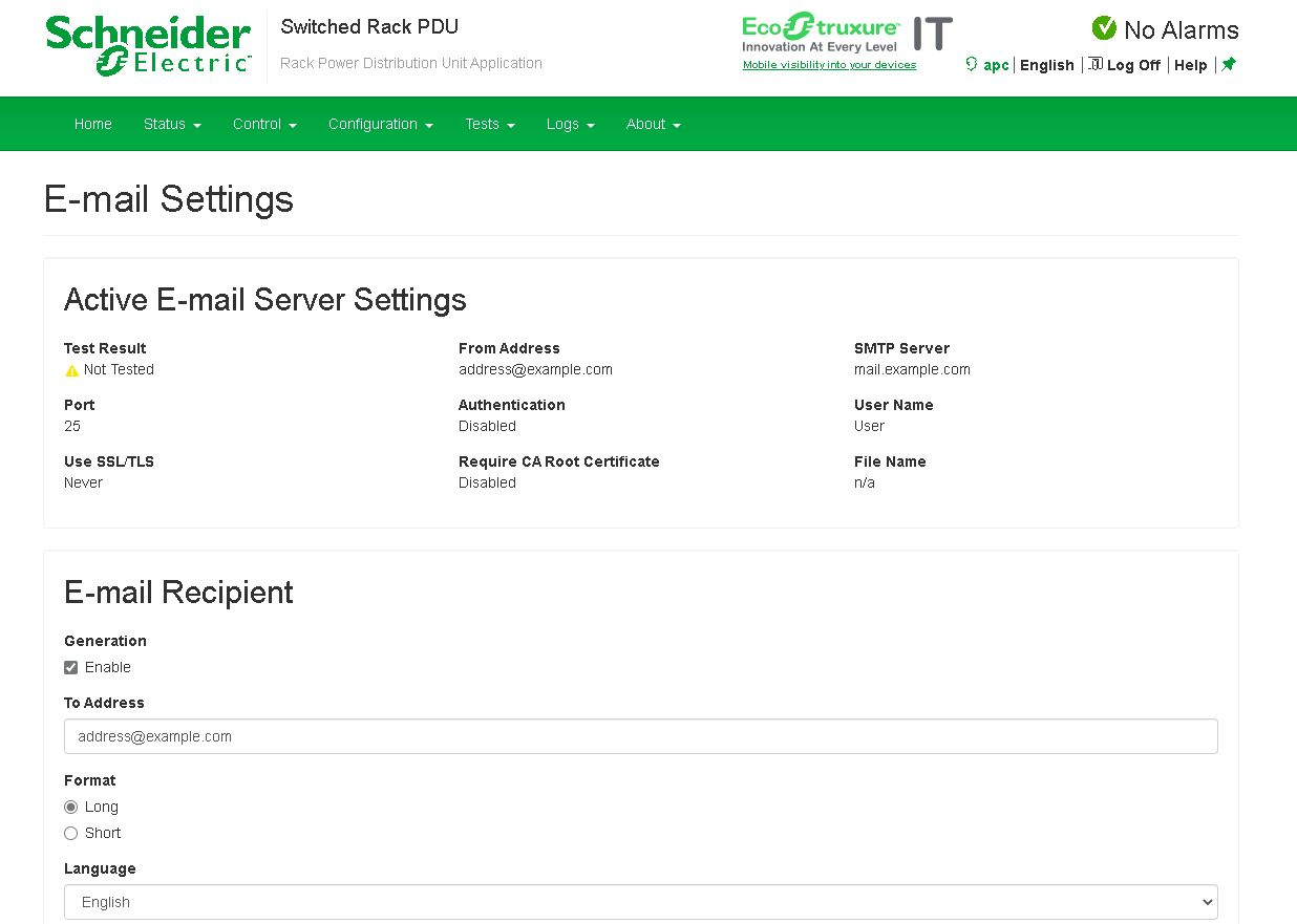 Schneider Electric APC 7921B E Mail Alerts