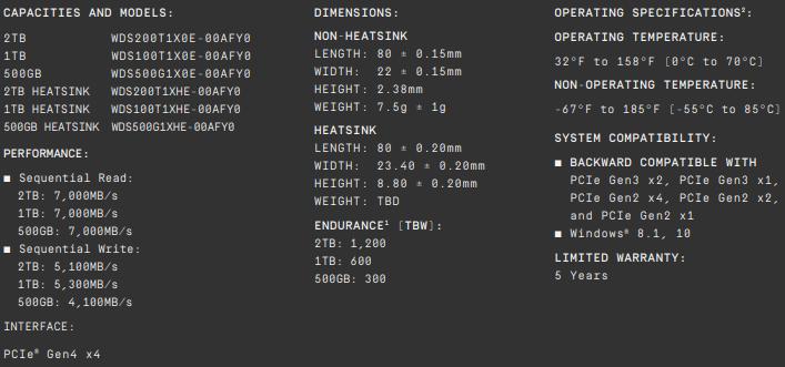 WD Black SN850 1TB Specs