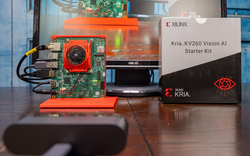 Xilinx Kria KV 260 Vision AI Starter Kit Running With Box And Logitech Camera 2