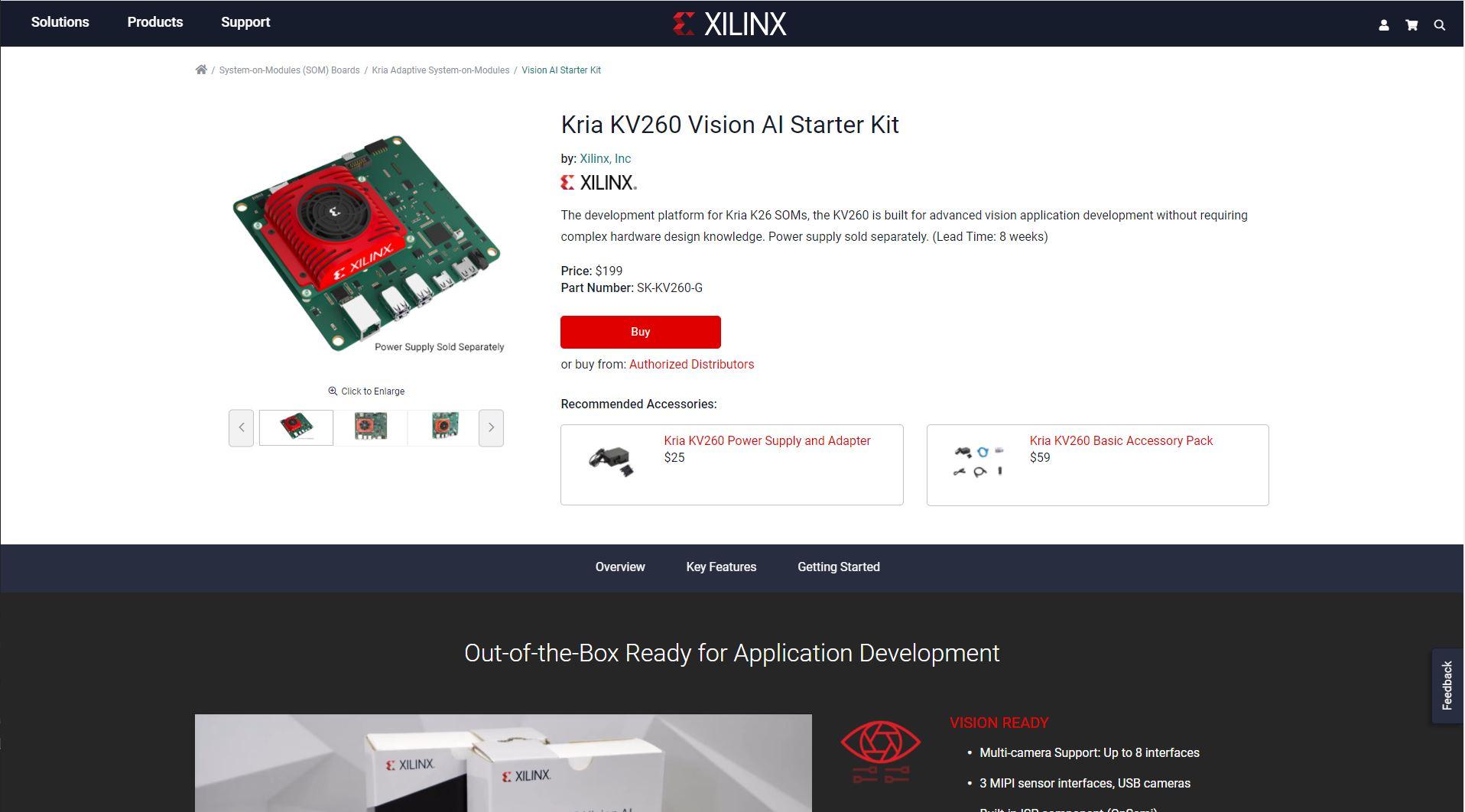 Xilinx Kria SOM KV260 Bundle Page