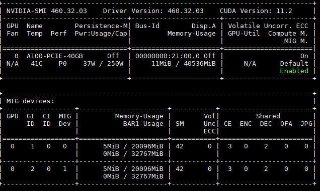 ASRock Rack 2U4G ROME 2T GPU A100 Nvidia Smi MIG