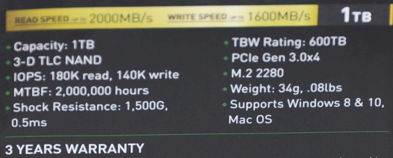 Inland Professional 1TB Specs