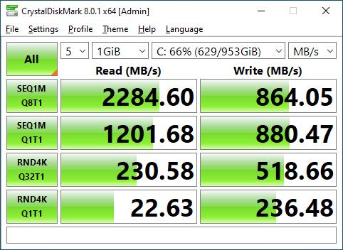 Lexar NM620 1TB CrystalDiskMark 1GB