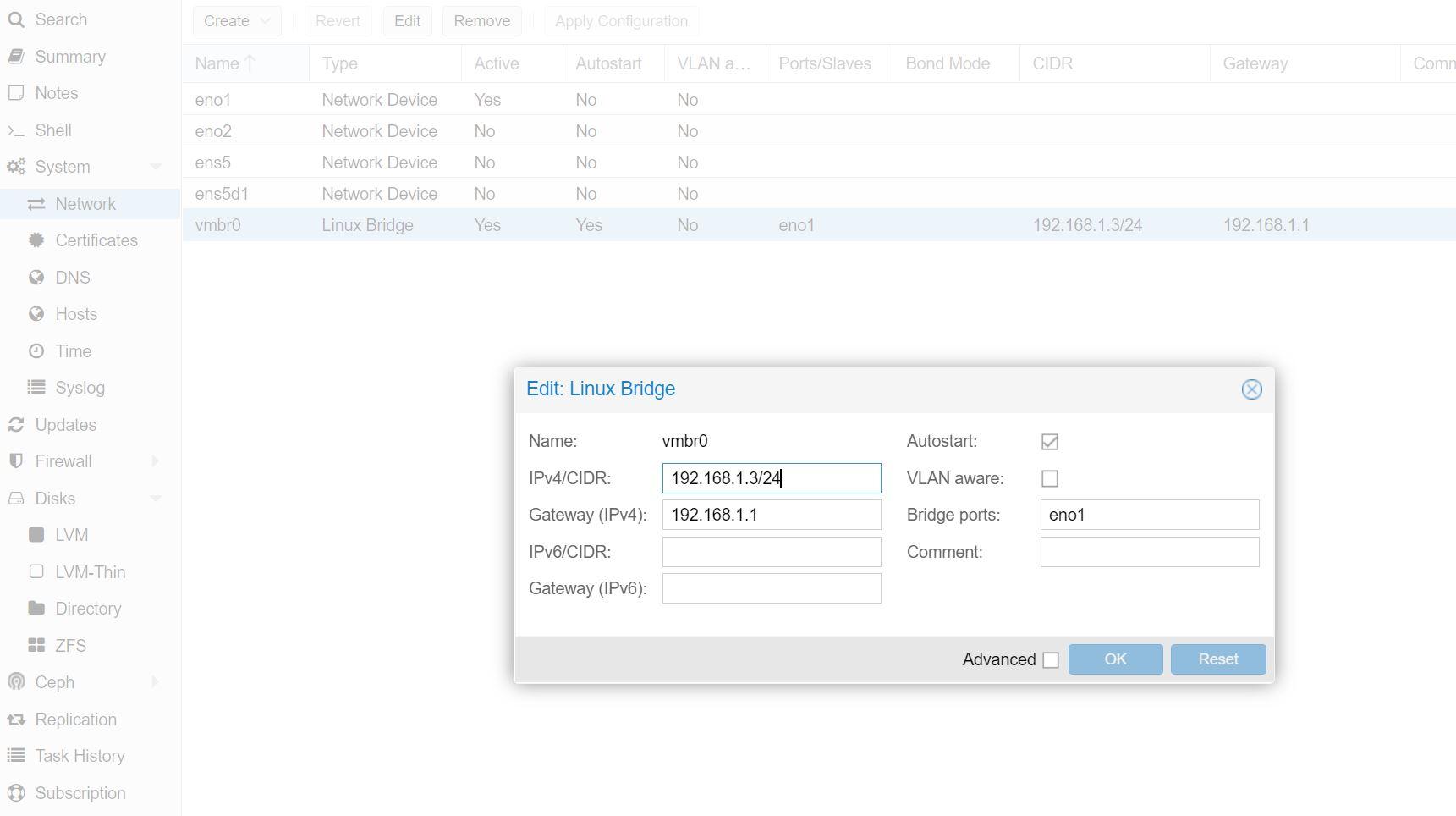 Change Proxmox VE IP Screenshot