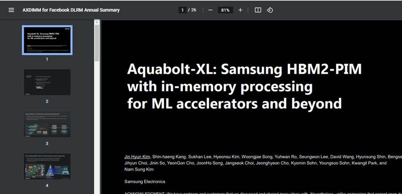 HC33 Samsung AXDIMM For Facebook DLRM