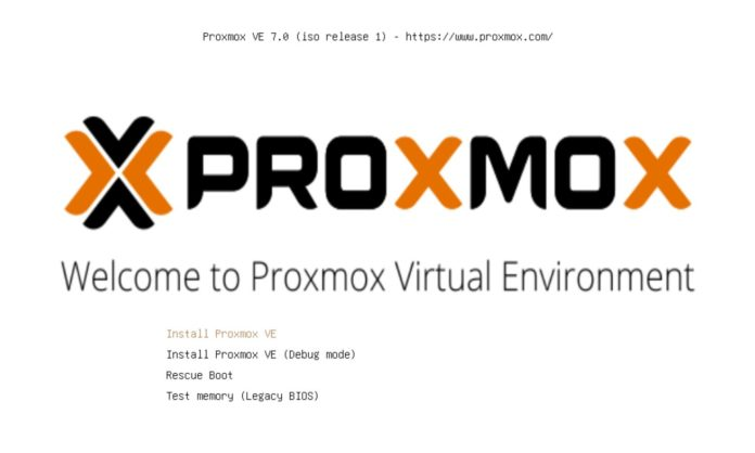 Install Proxmox VE 7 Initial Installer Screen