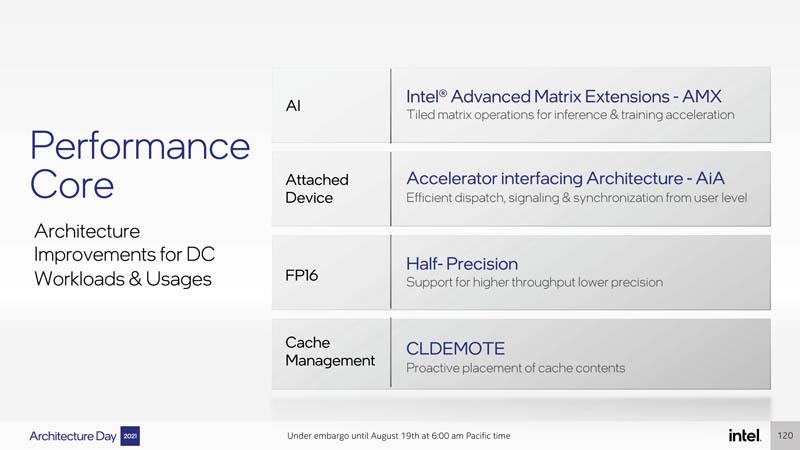 Intel Architecture Day 2021 Sapphire Rapids Performance Core