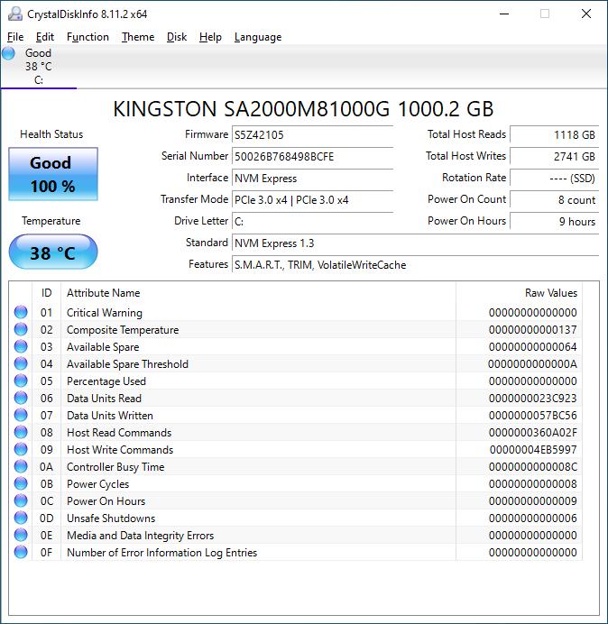 Kingston A2000 1TB CrystalDiskInfo