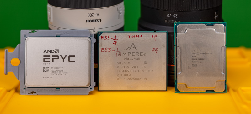 AMD EPYC 7003 Milan Ampere Altra Max Intel Xeon Ice Lake Front Close