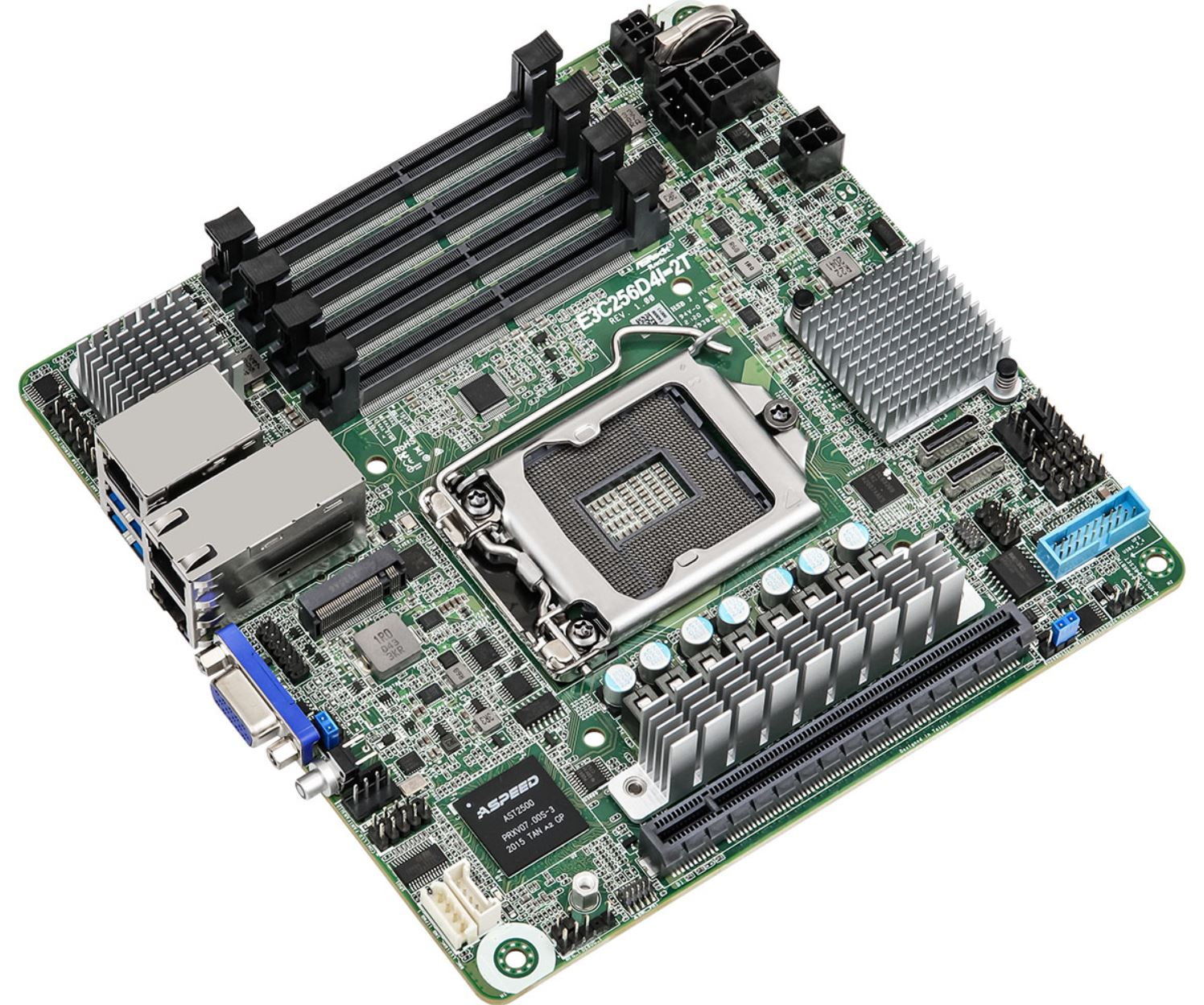 ASRock Rack E3C256D4I 2T MITX Motherboard Three Quarter