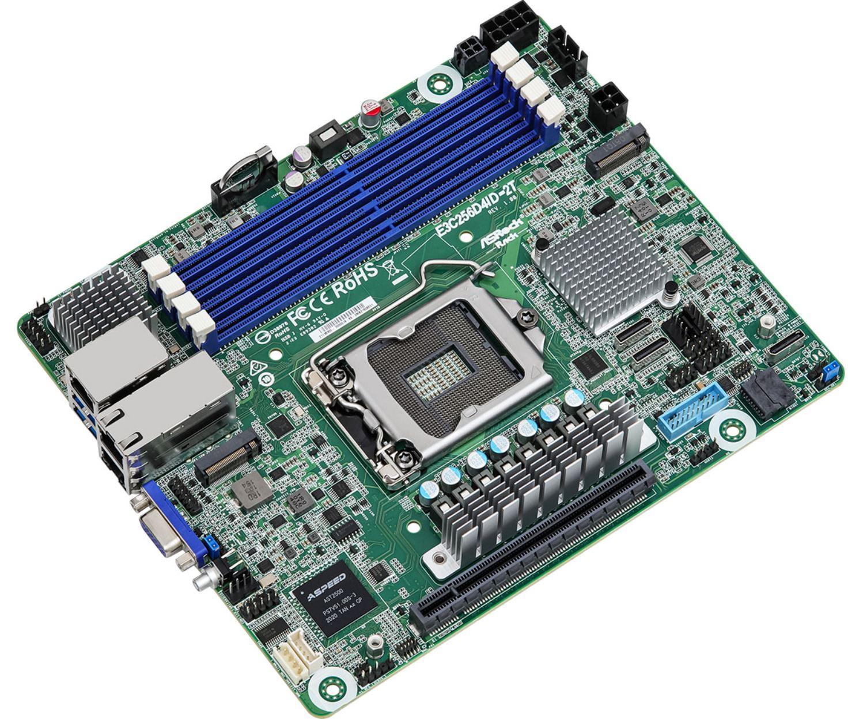 ASRock Rack E3C256D4ID 2T Deep MITX Motherboard Three Quarter