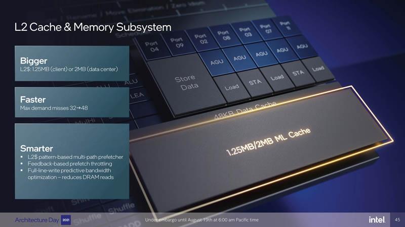 Intel Architecture Day 2021 Golden Cove L2 Cache And Memory