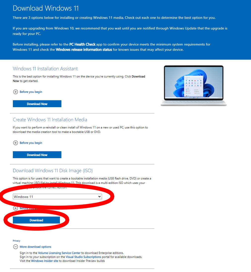 Microsoft Windows 11 Download Page Annotated